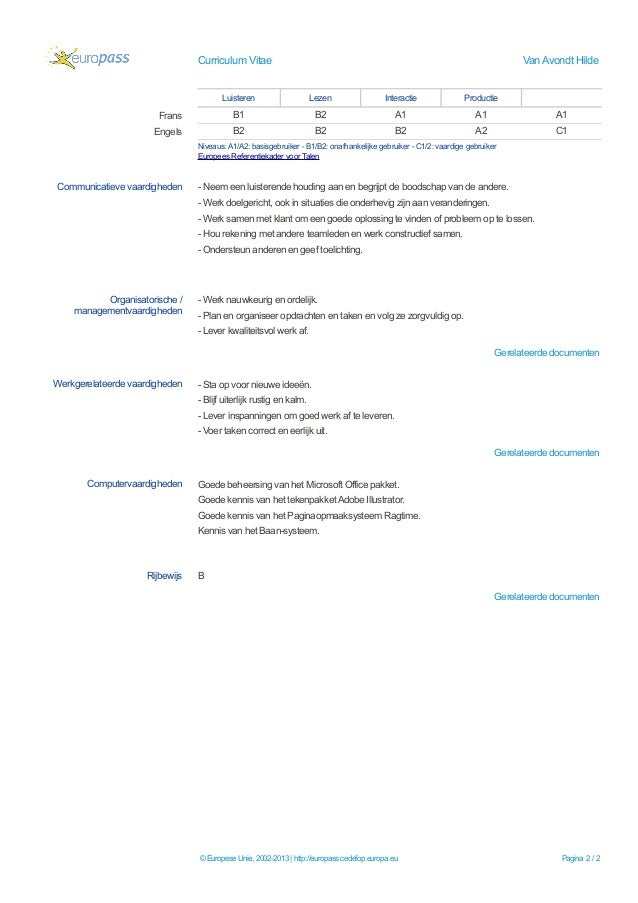 Europass cv administratief medewerker van avondt nl