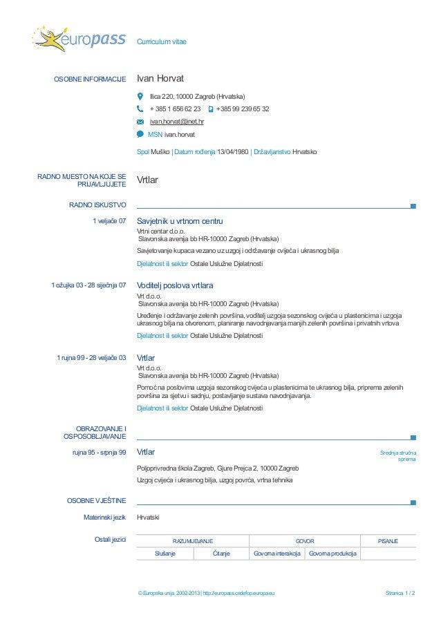 curriculum vitae hrvatski primjer