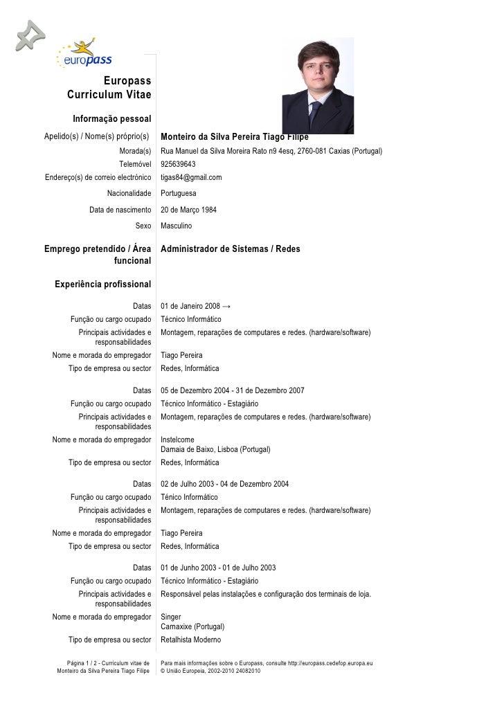 Tag Exemplos De Curriculum Vitae Europeu Preenchido Em Ingles