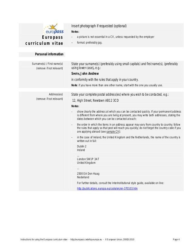 cv template europass instructions choice image