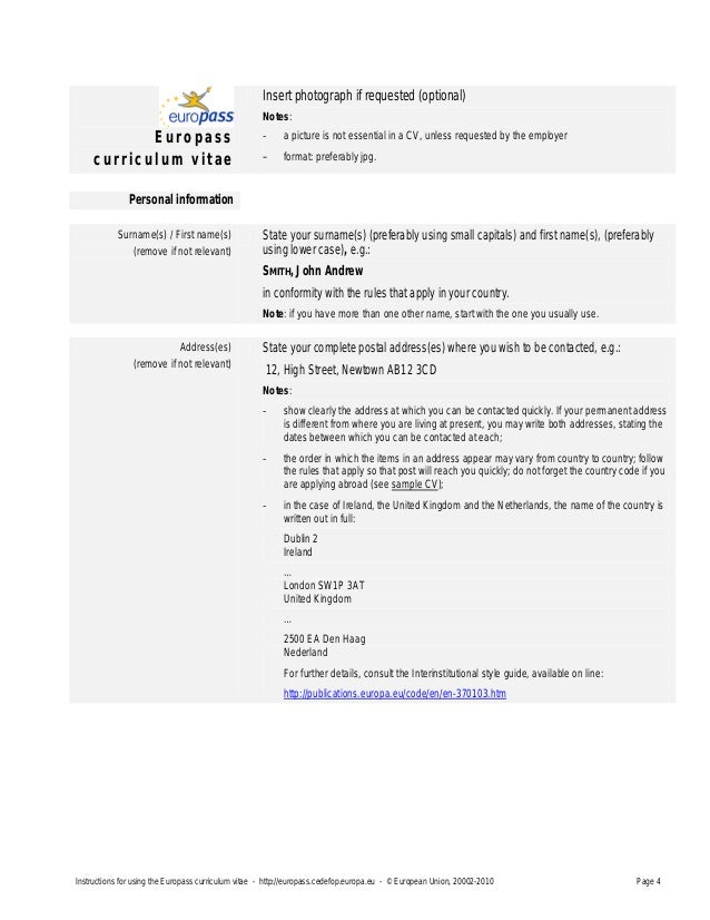 Europass cv instructionsen 1 yelopaper Choice Image