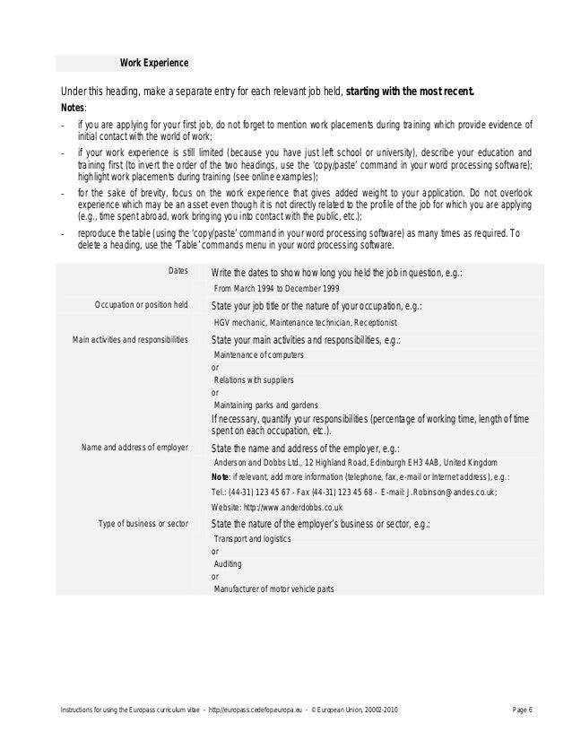 Europass cv instructionsen 1 yelopaper Gallery