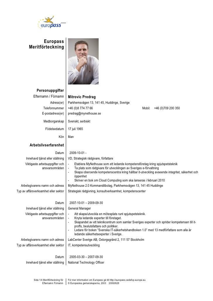 Europass          Meritförteckning                    Personuppgifter              Efternamn / Förnamn             Mitrovi...