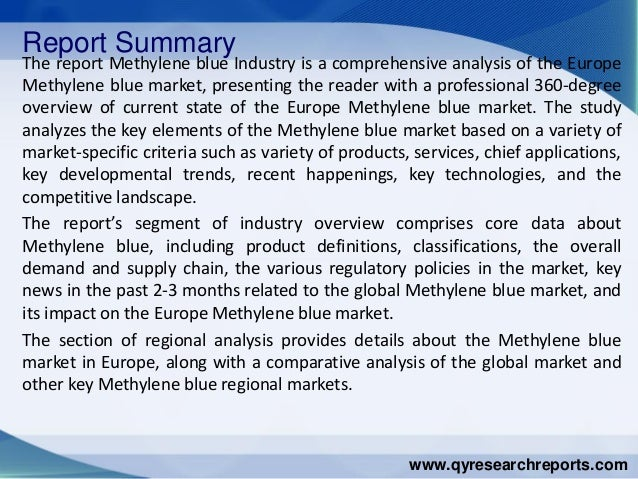 Europe methylene blue market 2015 industry analysis research growth trends demand and overview Slide 2