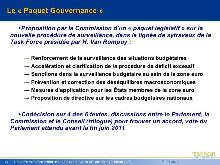 Le «Paquet Gouvernance» <ul><ul><li>Proposition par la Commission d'un «paquet législatif» sur la nouvelle procédure d...