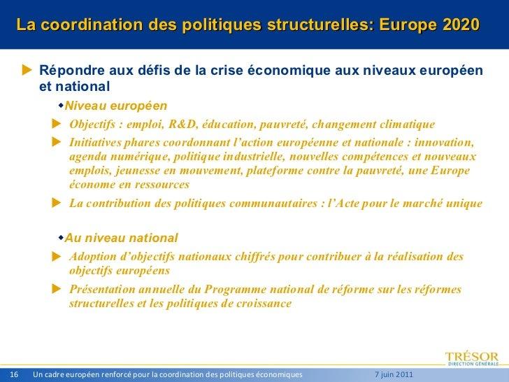 La coordination des politiques structurelles: Europe 2020 <ul><li>Répondre aux défis de la crise économique aux niveaux eu...