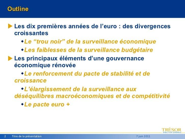 """Outline <ul><li>Les dix premières années de l'euro : des divergences croissantes </li></ul><ul><ul><li>Le """"trou noir"""" de l..."""