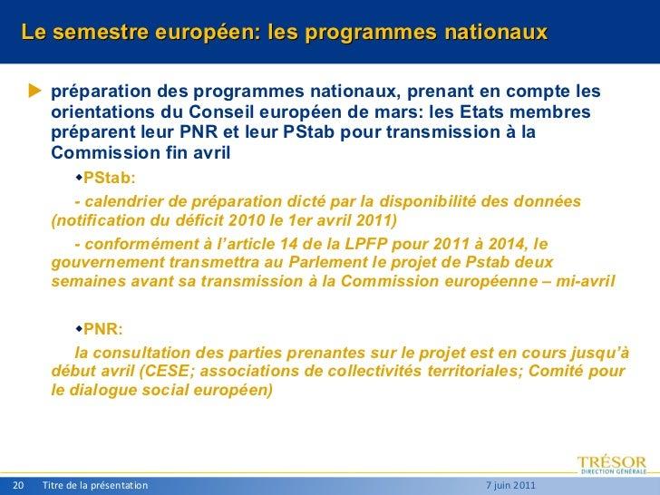 Le semestre européen: les programmes nationaux <ul><li>préparation des programmes nationaux, prenant en compte les orienta...