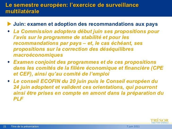Le semestre européen: l'exercice de surveillance multilatérale <ul><ul><li>Juin: examen et adoption des recommandations au...