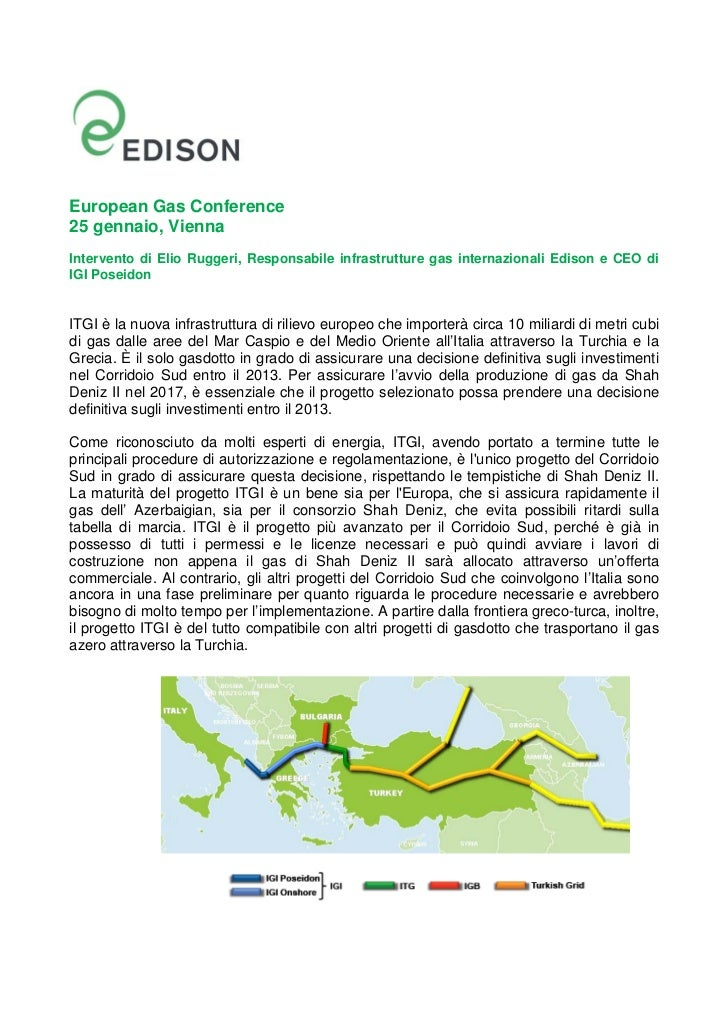European Gas Conference25 gennaio, ViennaIntervento di Elio Ruggeri, Responsabile infrastrutture gas internazionali Edison...