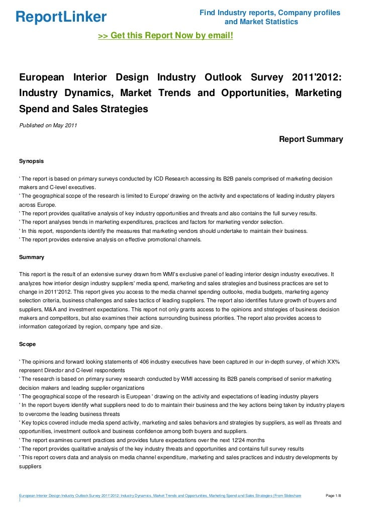 European Interior Design Industry Outlook Survey 20112012