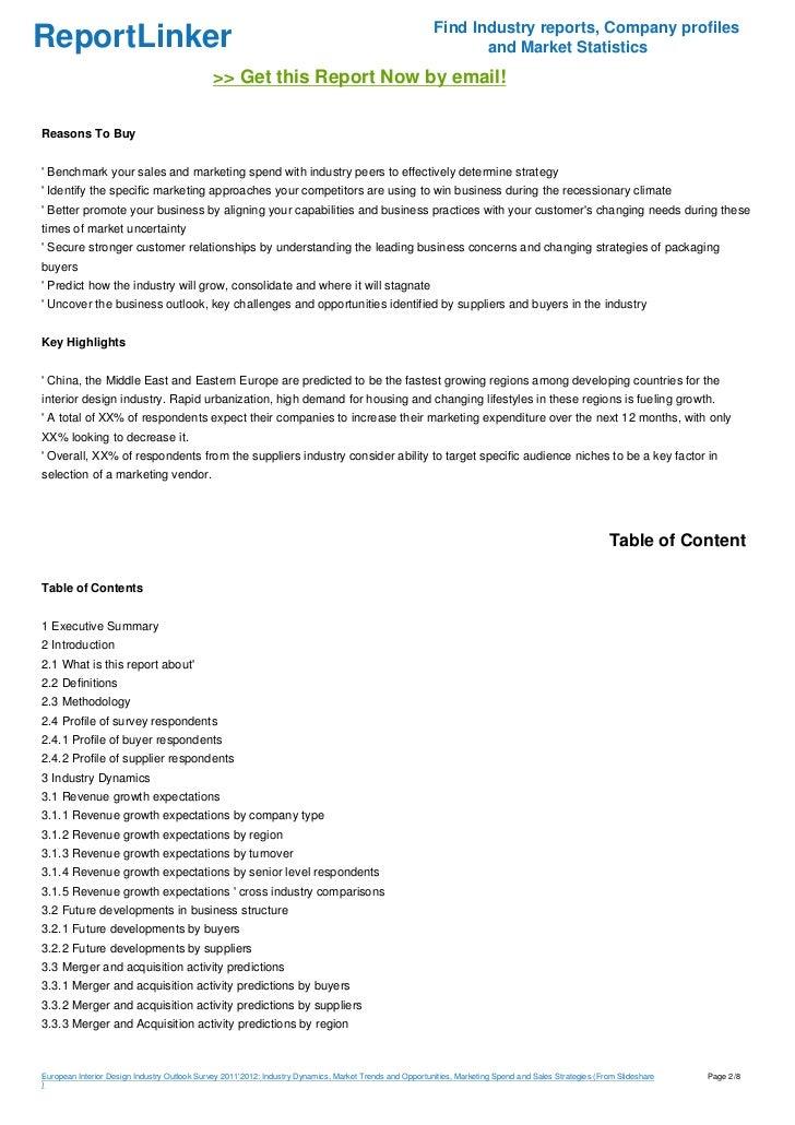 European Interior Design Industry Outlook Survey 20112012