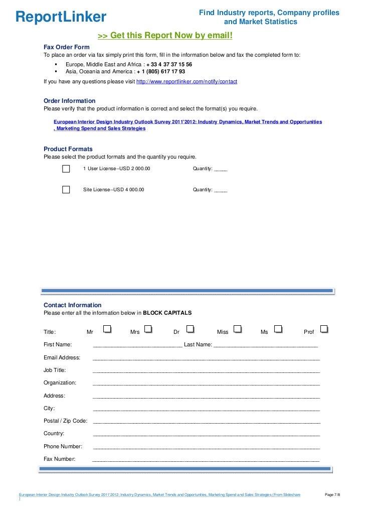 European Interior Design Industry Outlook Survey 20112012 Industry