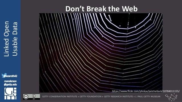 @azaroth42 rsanderson @getty.edu IIIF:Interoperabilituy LinkedOpen UsableData @azaroth42 rsanderson @getty.edu Don't Break...