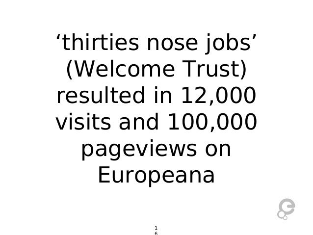 'thirties nose jobs' (Welcome Trust) resulted in 12,000 visits and 100,000 pageviews on Europeana 1