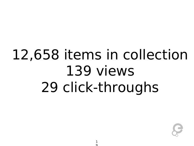 12,658 items in collection 139 views 29 click-throughs  1