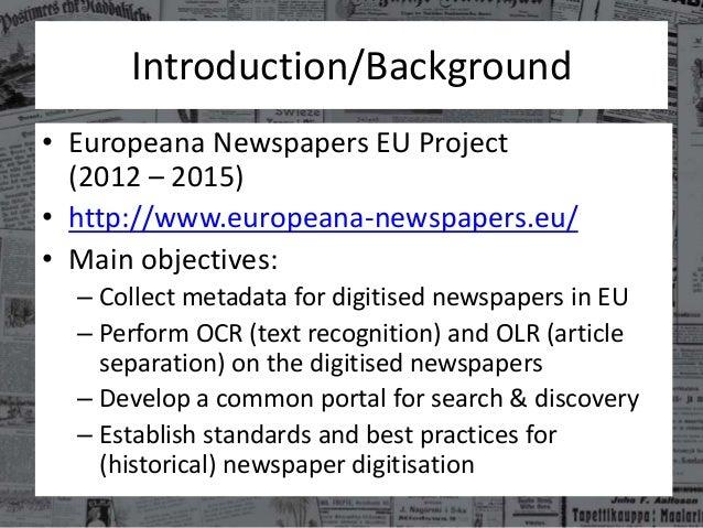 Europeana Newspapers in a Nutshell Slide 2