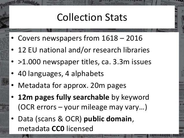 Europeana Newspapers in a Nutshell Slide 3