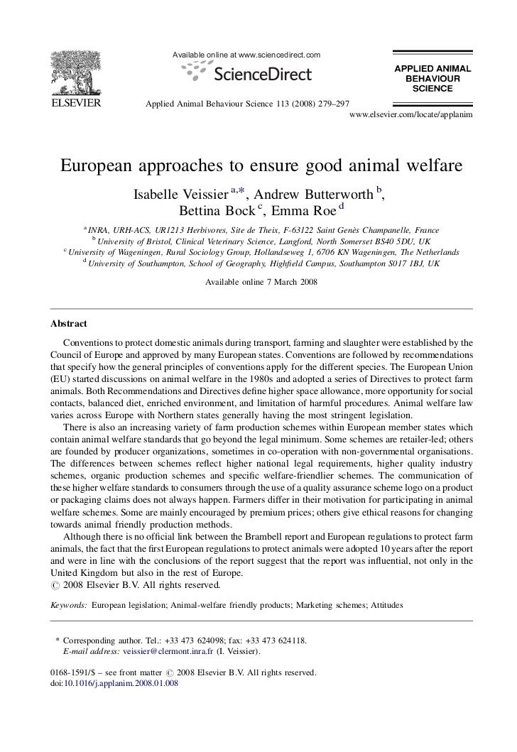 Available online at www.sciencedirect.com                         Applied Animal Behaviour Science 113 (2008) 279–297     ...