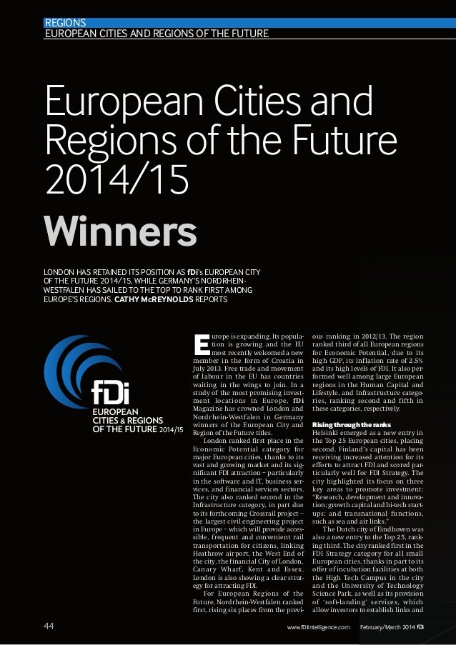 REGIONS EUROPEAN CITIES AND REGIONS OF THE FUTURE  European Cities and Regions of the Future 2014/15 Winners LONDON HAS RE...