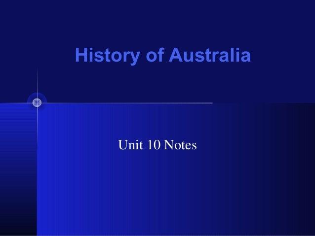 History of Australia Unit 10 Notes