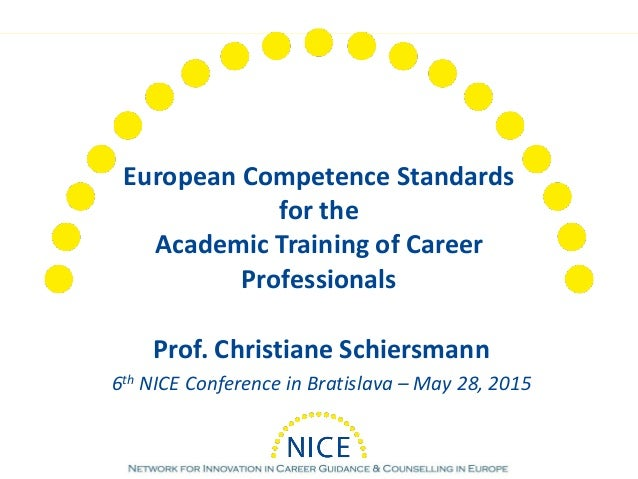 European Competence Standards for the Academic Training of Career Professionals Prof. Christiane Schiersmann 6th NICE Conf...