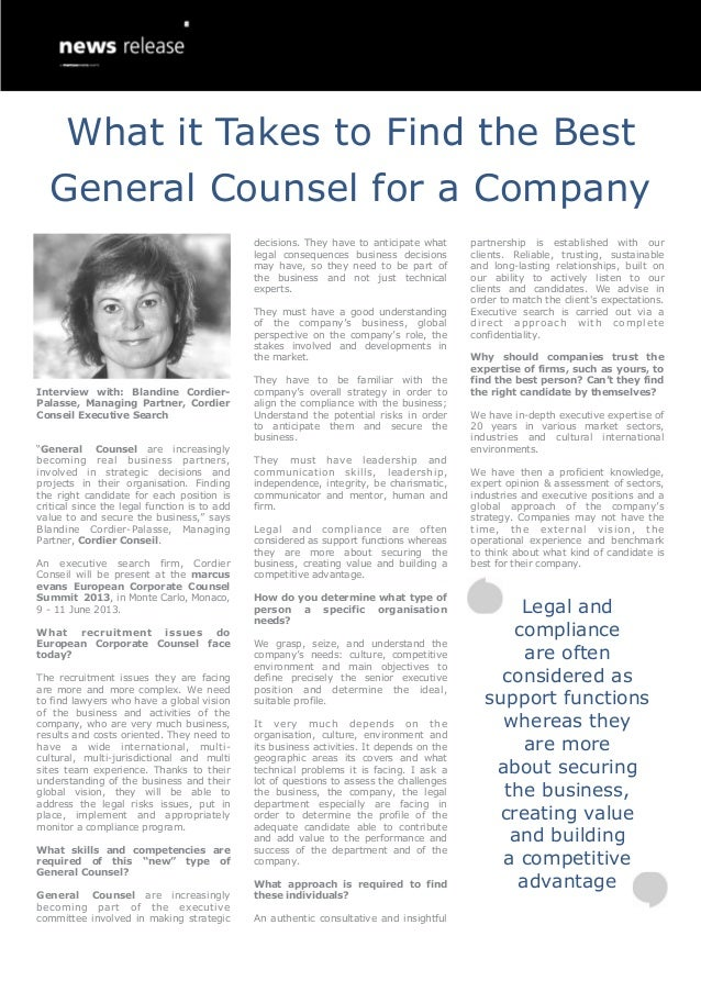 """Interview with: Blandine Cordier-Palasse, Managing Partner, CordierConseil Executive Search""""General Counsel are increasing..."""