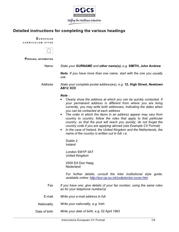 Merveilleux Detailed Instructions For Completing The Various Headings EUROPEAN  CURRICULUM VITAE ...