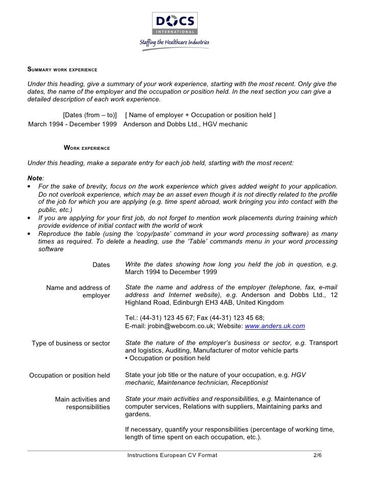 european resume form