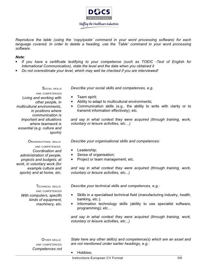 curriculum vitae formato tabular