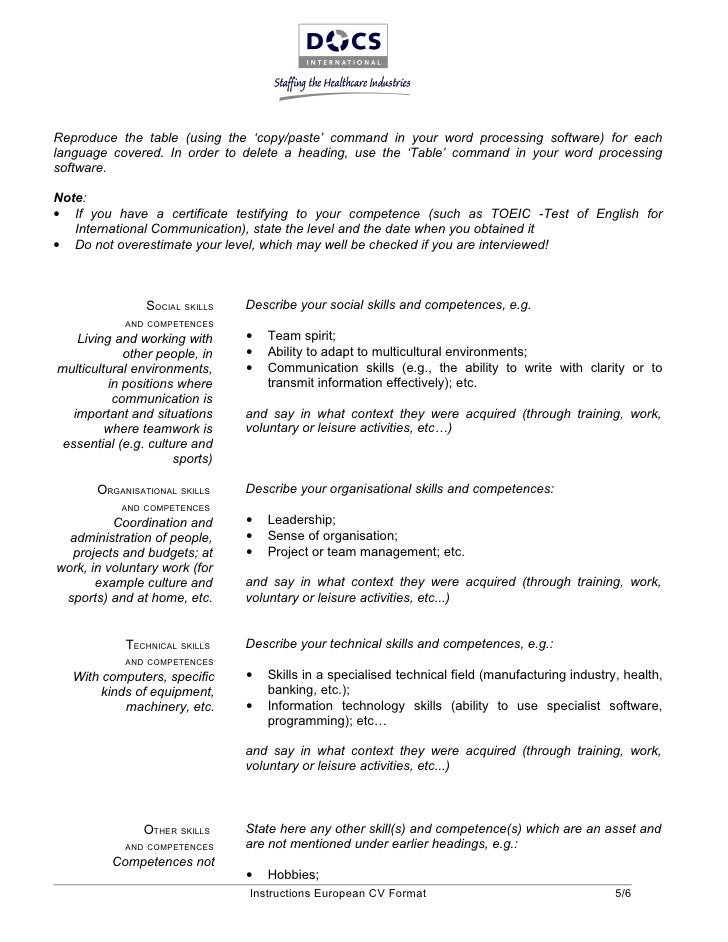 Charmant ... European CV Format 4/6; 5.