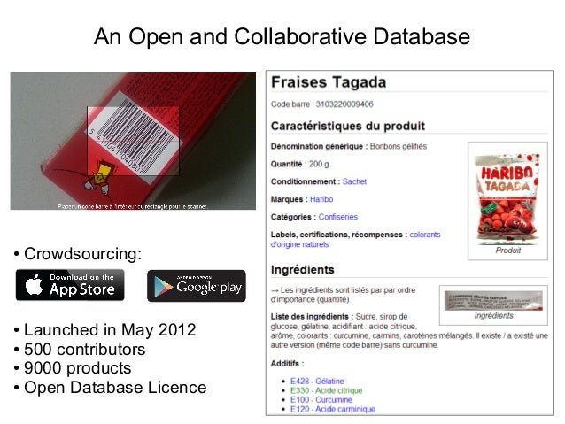 An Open and Collaborative Database ● Crowdsourcing: ● Launched in May 2012 ● 500 contributors ● 9000 products ● Open Datab...