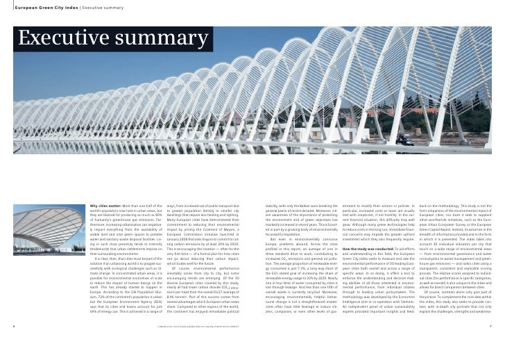 European Green City Index   Executive summary          Executive summary                                        Why cities...