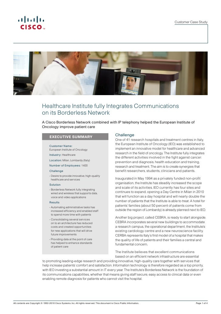 Customer Case Study                            Healthcare Institute fully Integrates Communications                       ...