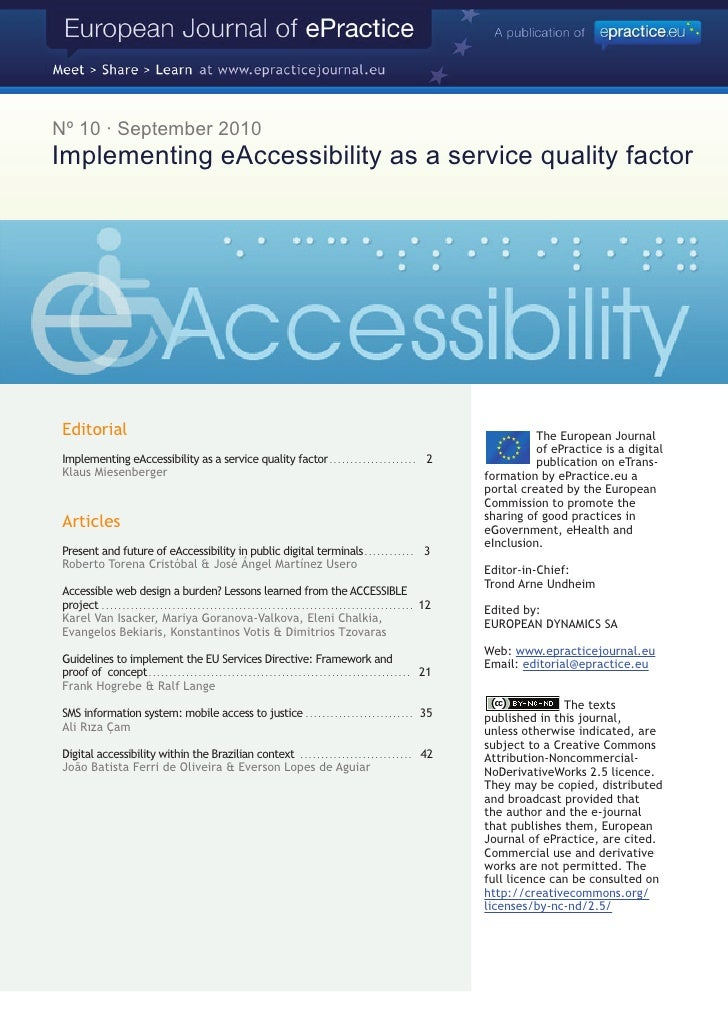 Nº 10 · September 2010 Implementing eAccessibility as a service quality factor      Editorial                             ...