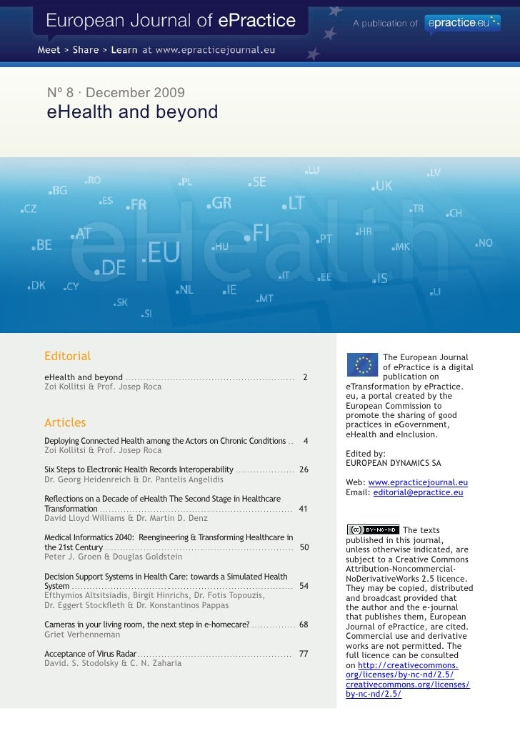 Nº 8 · December 2009  eHealth and beyond     Editorial                                                                    ...