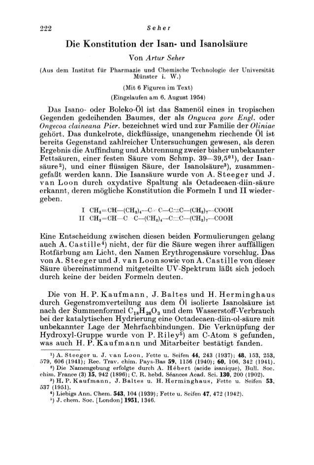 222 S e h e r  Die Konstitution der Isan- und Isanolsaure  Von Artur Seher  (Am dem Institut fur Pharmazie und Chemische T...