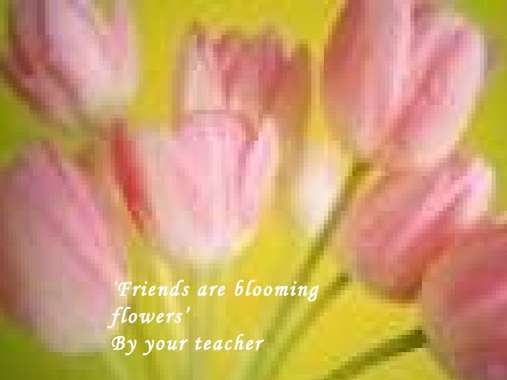 ' Friends are blooming flowers' By your teacher