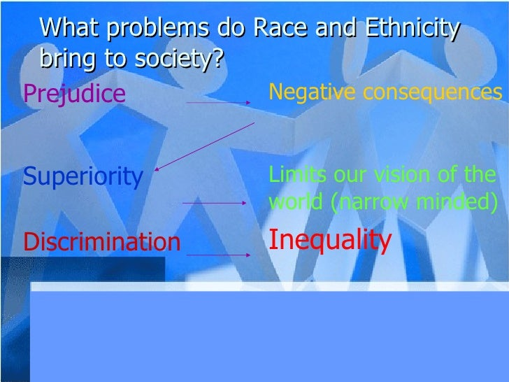 What problems do Race and Ethnicity bring to society? Limits our vision of the world (narrow minded) Inequality Superiorit...
