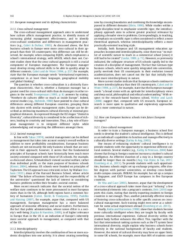 3.1. European management and its defining characteristics 3.1.1. Cross-cultural management The cross-cultural management ap...
