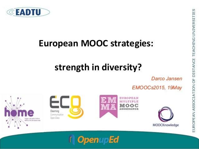 European MOOC strategies: strength in diversity? Darco Jansen EMOOCs2015, 19May