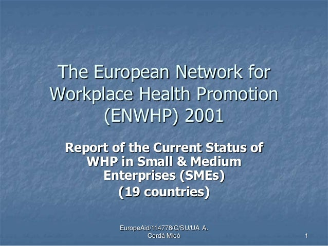 EuropeAid/114778/C/SU/UA A. Cerdá Micó 1 The European Network for Workplace Health Promotion (ENWHP) 2001 Report of the Cu...