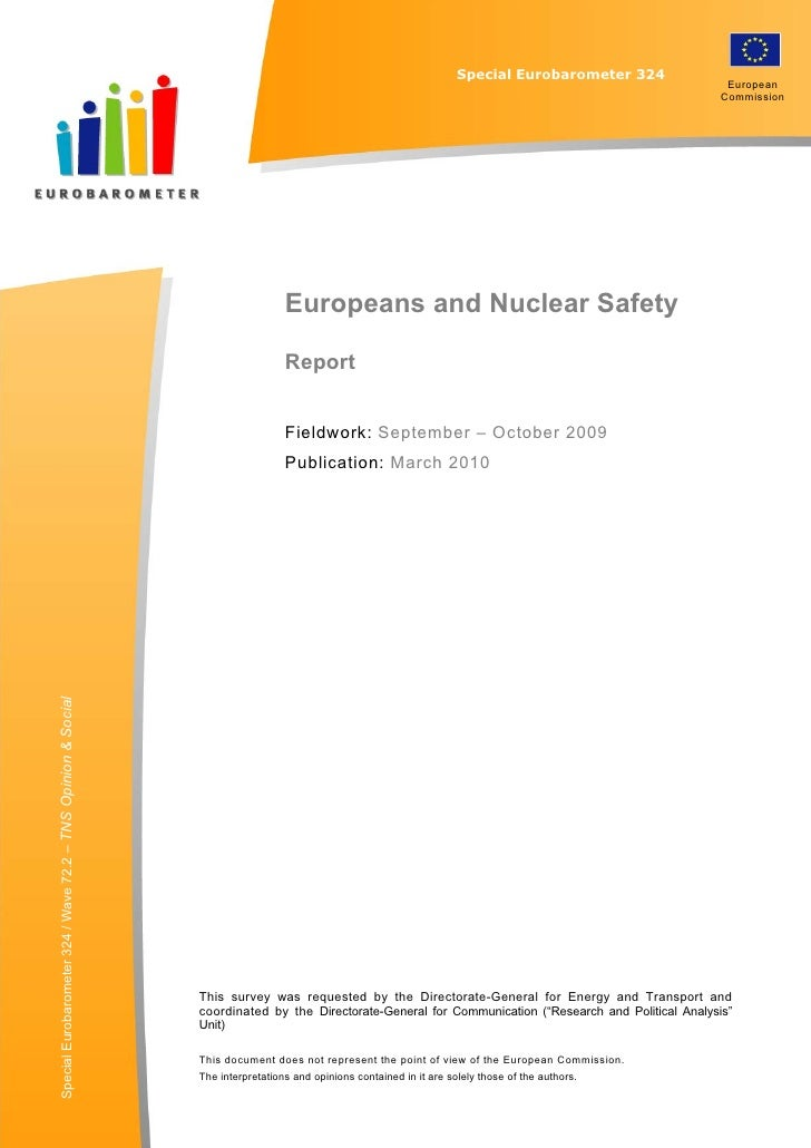 "Special EUROBAROMETER 324                                                      "" EUROPEANS AND NUCLEAR SAFETY""            ..."