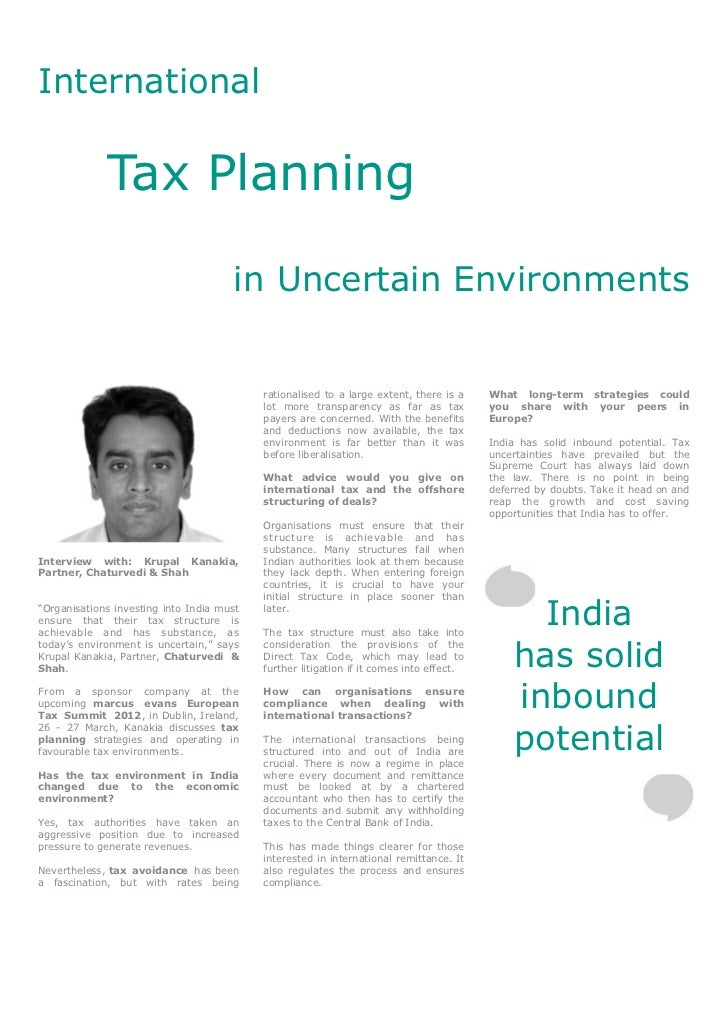 International             Tax Planning                                      in Uncertain Environments                     ...