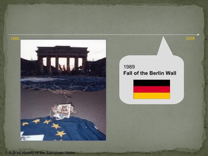 1989 Fall of the Berlin Wall I. A Brief History of the European Union 1950 2008