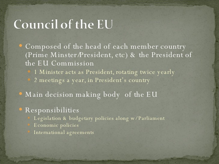 <ul><li>Composed of the head of each member country (Prime Minster/President, etc) & the President of the EU Commission  <...