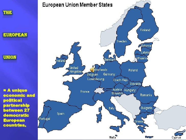 THE<br />EUROPEAN<br />UNION<br />= A unique economic and political partnership between 27 democratic European countries.<...