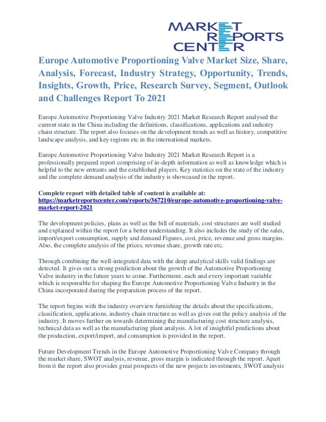 Europe Automotive Proportioning Valve Market Analysis Industry Size