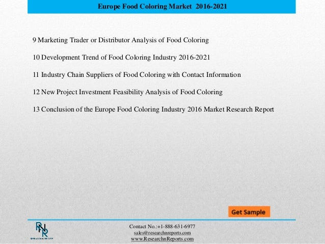 Europe Food Coloring Market Analysis Reports to 2021 and Forecasts