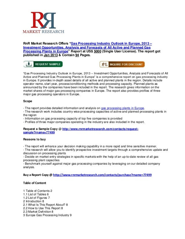 """RnR Market Research Offers """"Gas Processing Industry Outlook in Europe, 2013 –Investment Opportunities, Analysis and Foreca..."""
